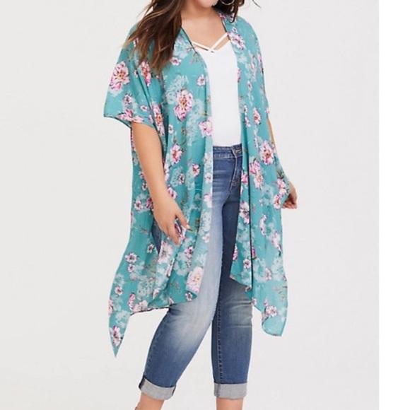 Torrid Kimono Duster Floral Long Cardigan